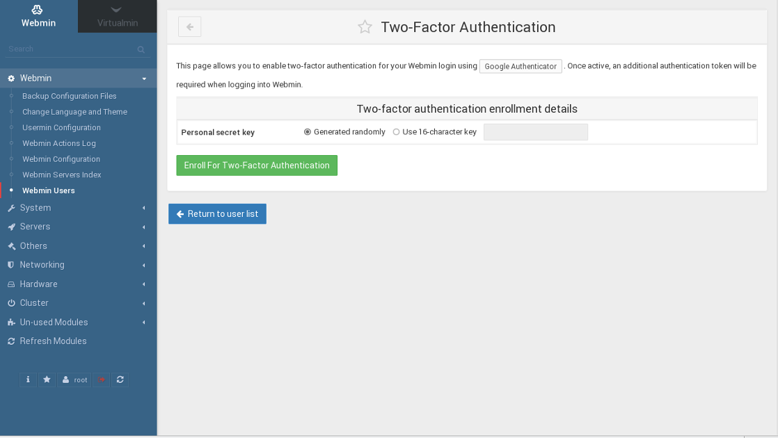 Webmin Two-Factor Authentication