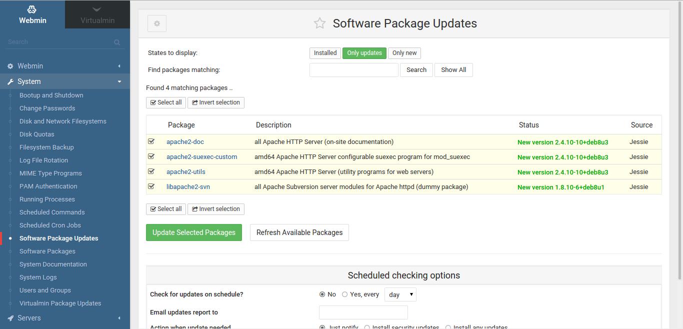 Virtualmin package updates