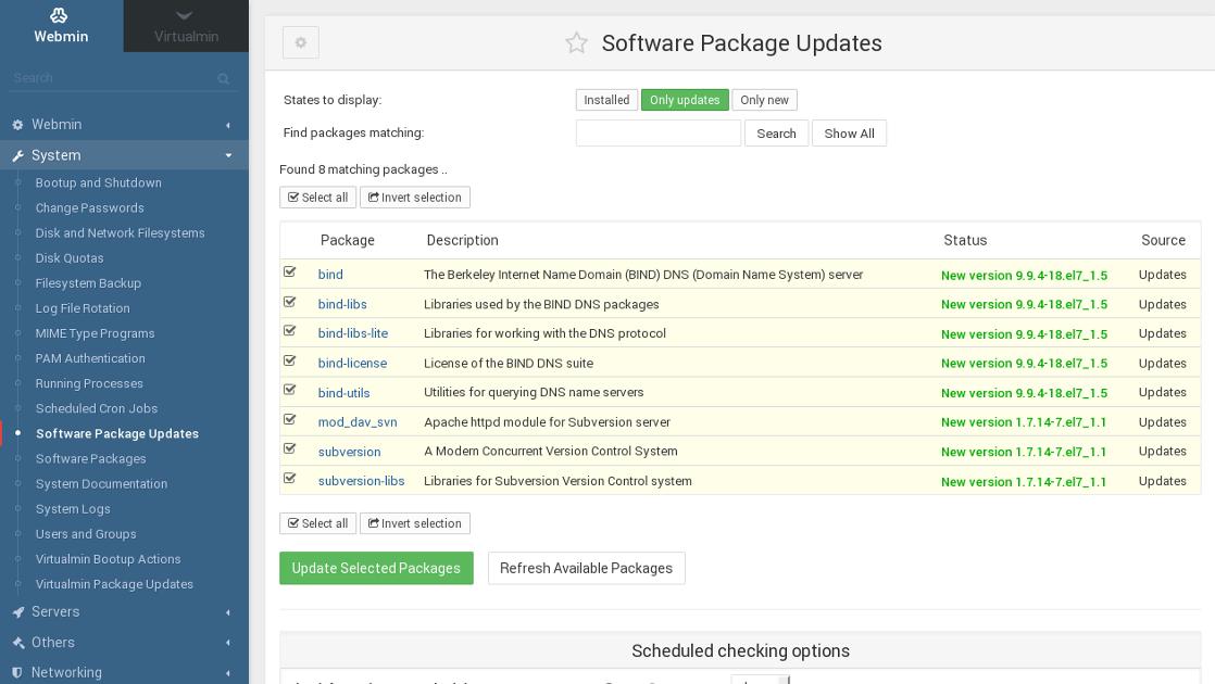 Webmin Software Updates