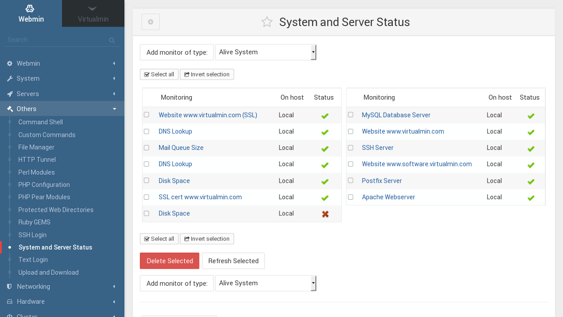 Webmin System and Server Status